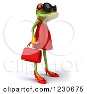 3d Female Springer Frog Wearing Sunglasses And A Red Dress 2