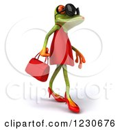 3d Female Springer Frog Wearing Sunglasses And A Red Dress 3