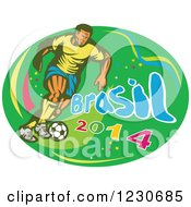 Clipart Of A Soccer Player Kicking Over Brasil 2014 Text On Green Royalty Free Vector Illustration by patrimonio