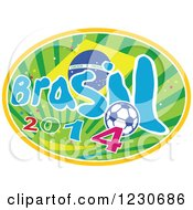 Clipart Of A Brazilian Flag With Brasil 2014 Text And A Soccer Ball Over Rays Royalty Free Vector Illustration by patrimonio