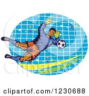 Clipart Of A Soccer Goalie Blocking Over A Net Royalty Free Vector Illustration