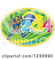 Clipart Of A Soccer Player Kicking Over A Brazilian Flag And 2014 Royalty Free Vector Illustration by patrimonio