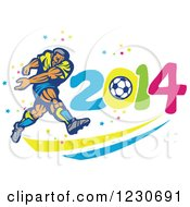 Clipart Of A Soccer Player Kicking Over 2014 Royalty Free Vector Illustration by patrimonio