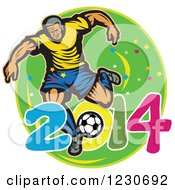 Clipart Of A Soccer Player Kicking Over 2014 On Green Royalty Free Vector Illustration by patrimonio