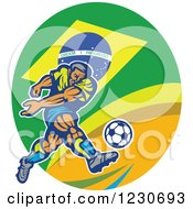 Clipart Of A Soccer Player Kicking Over A Brazilian Flag Royalty Free Vector Illustration by patrimonio