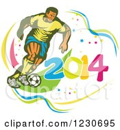 Clipart Of A Soccer Player Kicking Over 2014 2 Royalty Free Vector Illustration by patrimonio