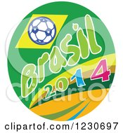 Clipart Of A Soccer Ball With Brasil 2014 Text Royalty Free Vector Illustration by patrimonio