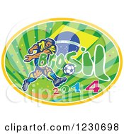 Clipart Of A Soccer Player Kicking Over A Brazilian Flag 2014 And Rays Royalty Free Vector Illustration by patrimonio