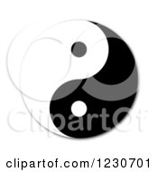 Clipart Of A Black And White Yin Yang With A Shadow On White Royalty Free Illustration