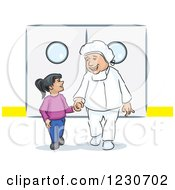 Clipart Of A Kind Doctor Walking A Girl Through A Hospital Royalty Free Vector Illustration