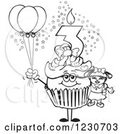 Line Art Girl Third Birthday Cupcake With A Doll And Balloons