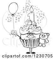 Line Art Girls First Birthday Cupcake With A Teddy Bear And Balloon