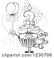 Line Art Girls Second Birthday Cupcake With A Teddy Bear And Balloons