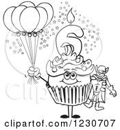 Line Art Boys Sixth Birthday Cupcake With A Super Hero And Balloons