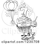 Line Art Boys Seventh Birthday Cupcake With A Remote Control Car And Balloons