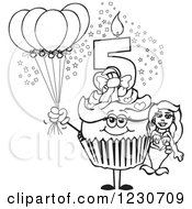 Clipart Of A Line Art Girls Fifth Birthday Cupcake With A Mermaid And Balloons Royalty Free Vector Illustration by Dennis Holmes Designs
