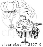 Line Art Boys Fifth Birthday Cupcake With A Fire Engine And Balloons