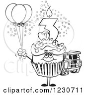 Line Art Boys Third Birthday Cupcake With A Toy Truck And Balloons