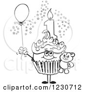 Line Art Boys First Birthday Cupcake With A Teddy Bear And Balloon