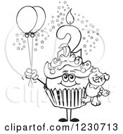 Line Art Boys Second Birthday Cupcake With A Teddy Bear And Balloons