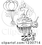 Line Art Girls Seventh Birthday Cupcake With A Remote Control Car And Balloons