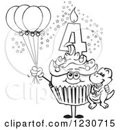 Line Art Boys Fourth Birthday Cupcake With A Dinosaur And Balloons
