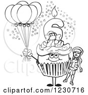 Line Art Girls Sixth Birthday Cupcake With A Doll And Balloons