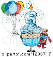 Clipart Of A Blue Boys Sixth Birthday Cupcake With A Super Hero And Balloons Royalty Free Vector Illustration by Dennis Holmes Designs