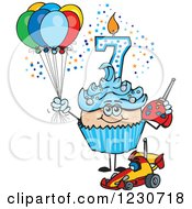 Clipart Of A Blue Boys Seventh Birthday Cupcake With A Remote Control Car And Balloons Royalty Free Vector Illustration