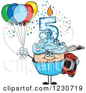 Clipart Of A Blue Boys Fifth Birthday Cupcake With A Fire Engine And Balloons Royalty Free Vector Illustration by Dennis Holmes Designs