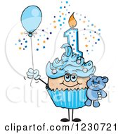 Clipart Of A Blue Boys First Birthday Cupcake With A Teddy Bear And Balloon Royalty Free Vector Illustration