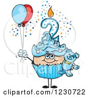 Clipart Of A Blue Boys Second Birthday Cupcake With A Teddy Bear And Balloons Royalty Free Vector Illustration by Dennis Holmes Designs