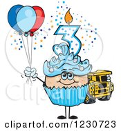 Clipart Of A Blue Boys Third Birthday Cupcake With A Toy Truck And Balloons Royalty Free Vector Illustration by Dennis Holmes Designs