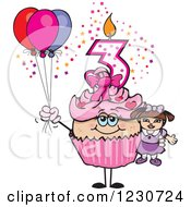 Clipart Of A Pink Girl Third Birthday Cupcake With A Doll And Balloons Royalty Free Vector Illustration by Dennis Holmes Designs