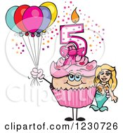 Clipart Of A Pink Girls Fifth Birthday Cupcake With A Mermaid And Balloons Royalty Free Vector Illustration