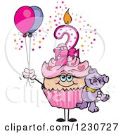 Clipart Of A Pink Girls Second Birthday Cupcake With A Teddy Bear And Balloons Royalty Free Vector Illustration by Dennis Holmes Designs