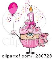 Clipart Of A Pink Girls First Birthday Cupcake With A Teddy Bear And Balloon Royalty Free Vector Illustration by Dennis Holmes Designs