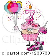 Clipart Of A Pink Girls Seventh Birthday Cupcake With A Remote Control Car And Balloons Royalty Free Vector Illustration