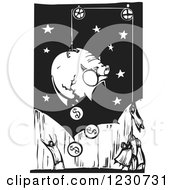 Clipart Of A Woodcut Of People Breaking A Piggy Bank Royalty Free Vector Illustration by xunantunich
