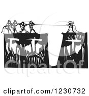 Black And White Woodcut Of People Playing Tug Of War On Heads