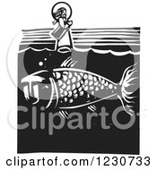 Clipart Of A Black And White Woodcut Fish Under Jesus Walking On Water Royalty Free Vector Illustration