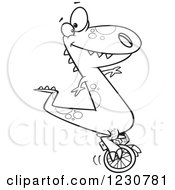 Clipart Of A Line Art Cartoon T Rex Dinosaur On A Unicycle Royalty Free Vector Illustration
