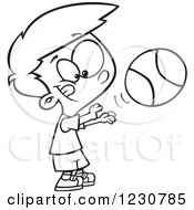 Clipart Of A Line Art Cartoon Boy Shooting A Basketball Royalty Free Vector Illustration by toonaday