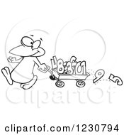 Clipart Of A Line Art Cartoon Penguin Pulling Numbers In A Wagon Royalty Free Vector Illustration