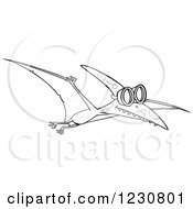 Clipart Of A Line Art Cartoon Pterodactyl Dinosaur Flying In Goggles Royalty Free Vector Illustration by toonaday