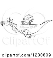 Clipart Of A Line Art Cartoon Boy Riding On A Pet T Rex Dinosaur Royalty Free Vector Illustration by toonaday