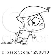 Clipart Of A Line Art Cartoon Boy Worried About Muddy Shoes Royalty Free Vector Illustration