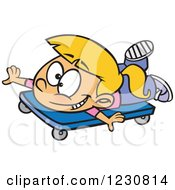 Clipart Of A Cartoon Blond Girl Playing On A Scooter Board Royalty Free Vector Illustration by toonaday