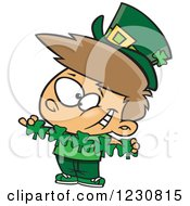 Clipart Of A Cartoon St Patricks Day Leprechaun Boy With Paper Shamrocks Royalty Free Vector Illustration