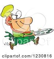 Cartoon St Patricks Day Baker Leprechaun With Shamrock Cookies